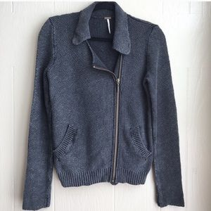 Free People Warm & Cool Sweater Knit Moto Jacket